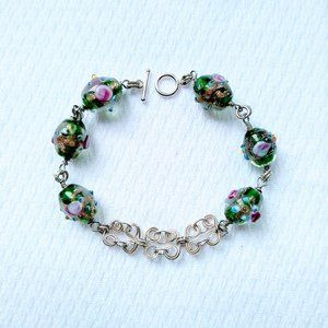 Beaded Bracelet with Silverplated Scrollwork